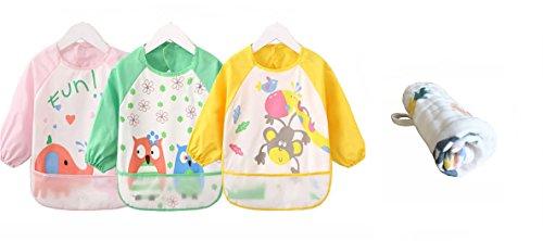 (Momloves Cute Cartoon Toddler Baby Waterproof Sleeved Bib, Baby Toddler Smock, Free Baby Towels(6 Months-3 Years) (Light Pink Series))
