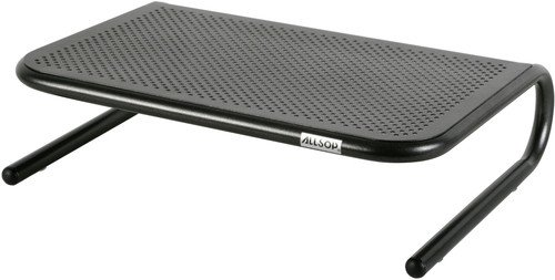 Allsop Metal Art Jr. Monitor Stand, 14-Inch wide platform holds 40 lbs with keyboard storage space - Pearl Black - Keyboard Stand Desk