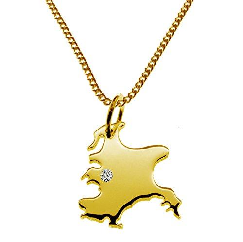Endroit Exclusif Rügen Carte Pendentif avec brillant à votre Désir (Position au choix.)-avec Chaîne-massif Or jaune de 585or, artisanat Allemande-585de bijoux