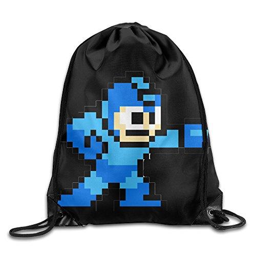Drawstring Backpack Bag Mega Man Pixel Video Game Robot Nylon Home Travel Sport Storage