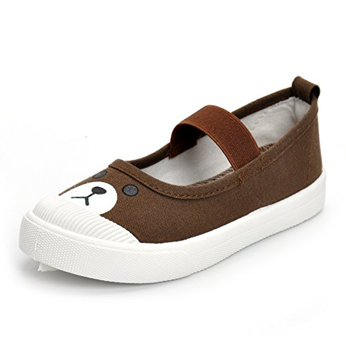 Boys Girls Shoes Slip-on Casual Canvas Sneaker Mary Jane, Brown Bear, 11 M US Little Kid ()