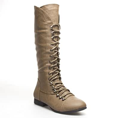 Amazon.com | TOP MODA Womens COCO39 Lace Up Knee High