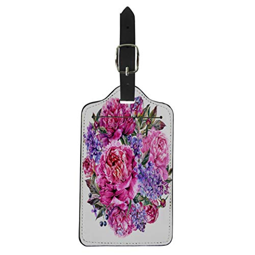 (Pinbeam Luggage Tag Watercolor Round Bouquet Made of Blooming Fuchsia Peonies Suitcase Baggage Label)