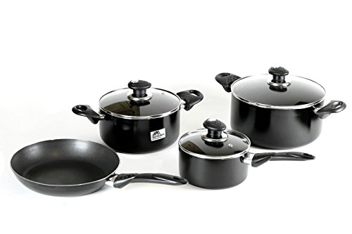 Royalford Cookware Set 7 Pieces Aluminum Non Stick Professional Series Black