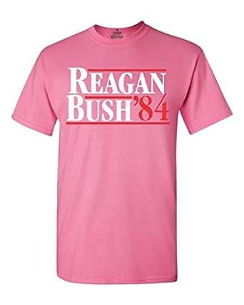 Shop4Ever Reagan Bush 84 T-Shirt Republican Presidential Campaign Shirts Small Azalea Pink 0