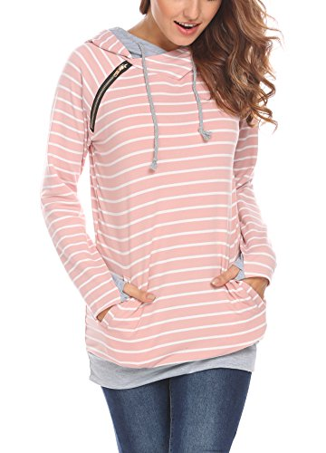 Women's Double Hooded Cotton Stripe Sweatshirt Tops Funnel Neck Pockets Casual Pullover Hoodie (XXL, Pink)