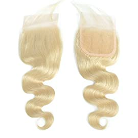 Brazilian Virgin Hair Body Wave Closure 613# Lace Closure Body Wave Brazilian Body Wave Lace Closure With Baby Hair (10, Body Wave)