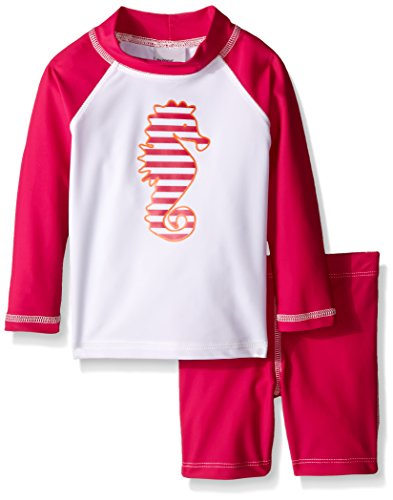 Flap Happy Little Girls UPF 50+ Graphic Rash Guard And Swim Short Set, Cabana Stripe Seahorse/Pure Magenta, 4 (Shirt Cabana Stripe)