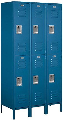 Steel Locker Standard (Salsbury Industries 52368BL-U Double Tier 45-Inch Wide 6-Feet High 18-Inch Deep Unassembled Extra Wide Standard Metal Locker, Blue)