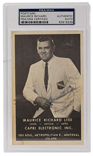 Maurice Richard Montreal Canadiens Signed Capri Electric Postcard Slabbed PSA/DNA from Sports Integrity