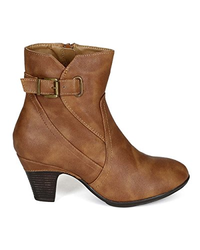 Leatherette Toe Buckle Ankle Beige Riding Heel Women Leatherette CJ72 Bootie Round Chunky XEq6OPw