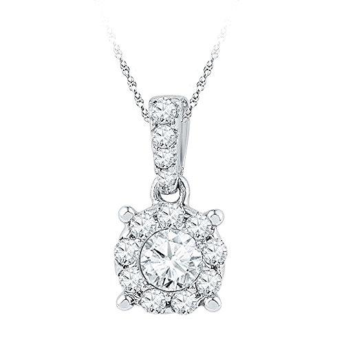 Roy Rose Jewelry 10K White Gold Ladies Diamond Solitaire Circle Frame Pendant 1/2 Carat tw