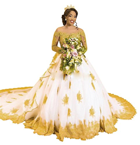 f99239a31b5a XJLY Luxury Gold Applique Long Sleeve Lace Saudi Arabia Wedding Dresses  Ball Gown