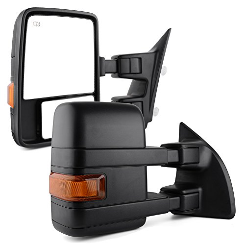 Tow Mirrors Power Heated Dual Glass for 99-07 Ford F250 F350 Super Duty 01-05 Excursion Towing Mirror Pair Set Manual Telescoping Folding Textured With Reflective Stripe - Excursion Set