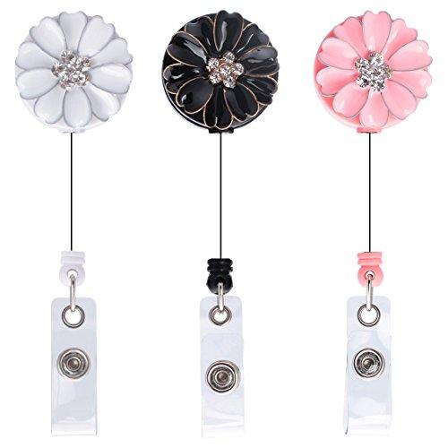 Badge Nurse (Soleebee 29'' Retractable Badge Reels, Camellia Nurse ID Badge Holder with Belt Clip 3 Pack - Crystal)