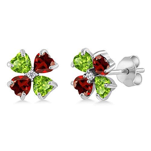 (Gem Stone King 1.25 Ct Heart Shape Green Peridot Red Garnet 925 Sterling Silver Earrings)