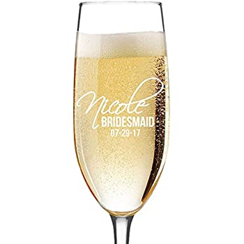 9207ada0f5a4 Personalized Champagne Flute Glass - Bridesmaid Wedding Gifts Toasting  Flutes Glasses - Custom Engraved for Free
