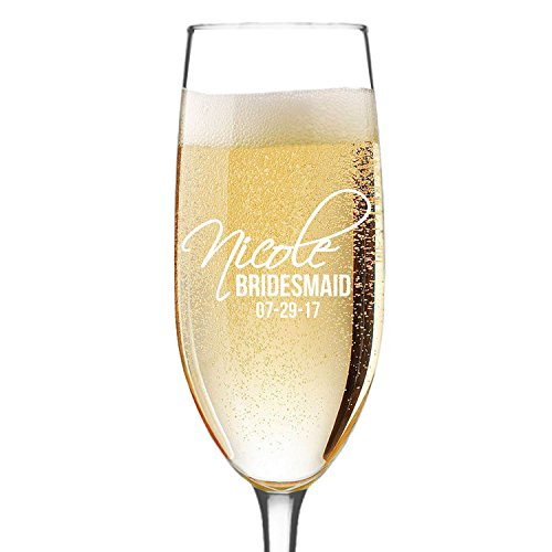 Personalized Champagne Flute Glass - Bridesmaid Wedding Gifts Toasting Flutes Glasses - Custom Engraved for Free