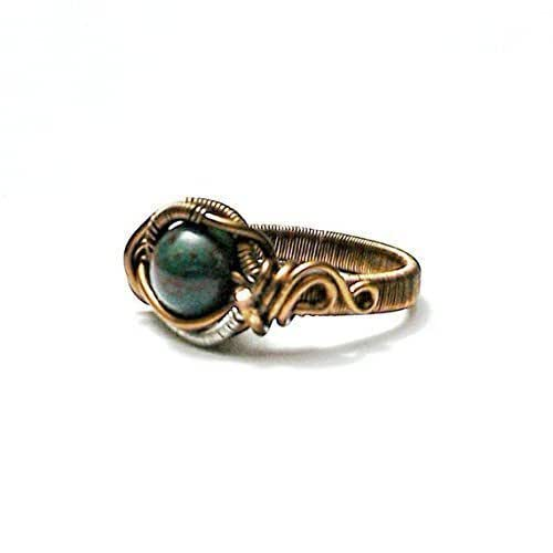 Amazon.com: Natural Bloodstone Ring - Crystal Flow Mens ...