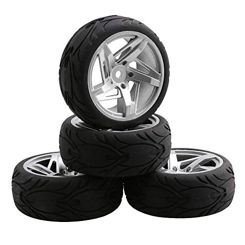 Mxfans 4PCS Plastic Silver Hub Wheel Rims & Rubber Tires RC 1:10 Car 12mm (Car Rc Drift 1 10)