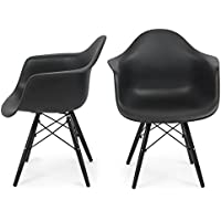 Belleze Mid Century Molded Arm Chair Style Wooden Leg Armrest Shell Eiffel Seat Legs, Set of (2) - Black