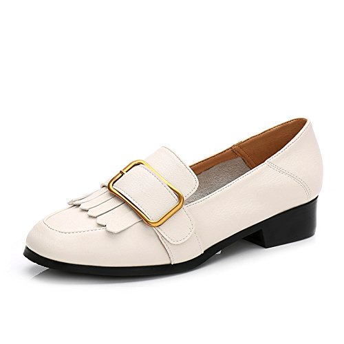 T-juli Dames Kwast Instappers Oxfords Loafer Schoenen Retro Mode Casual Walking Platte Schoenen Wit