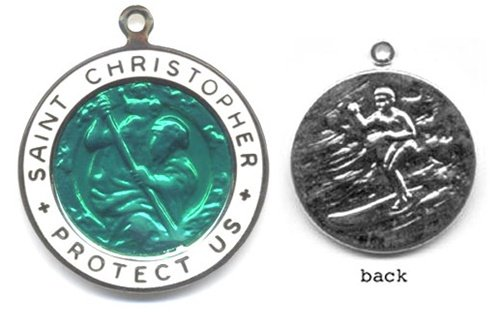 (St. Christopher Silver Plated Colored Surf Medal - Large Kelly Green/White)