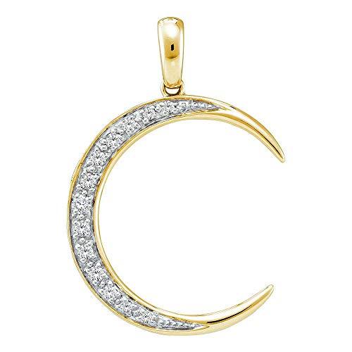 Jawa Jewelers 14kt Yellow Gold Womens Round Diamond Crescent Moon Pendant 1/6 Cttw