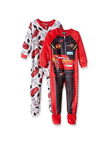Blanket Graphic Knit (Disney Cars Lightning McQueen Boys Blanket Sleeper Pajama 2 Pack Set (2T, Red/Grey))