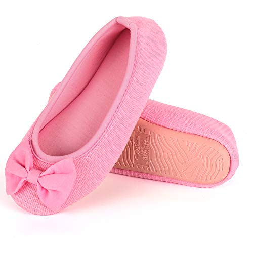 Wishcotton Women's Comfortable Memory Foam Ballerina Slippers Breathable Cotton House Indoor Shoes Pink