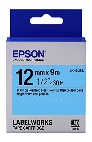 "Epson LabelWorks Standard LK (Replaces LC) Tape Cartridge ~1/2"" Black on Pearlized Blue (LK-4LBL) - For use with LabelWorks LW-300, LW-400, LW-600P and LW-700 label printers"