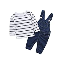 Abolai Cute Baby Boys Clothes Toddler Jumpsuit Rompers Jean Overalls Set with Stripe T-Shirt Black 70