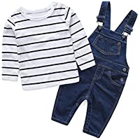 Abolai Cute Baby Boys Clothes Toddler Jumpsuit Rompers Jean Overalls Set with Stripe T-Shirt Black 90