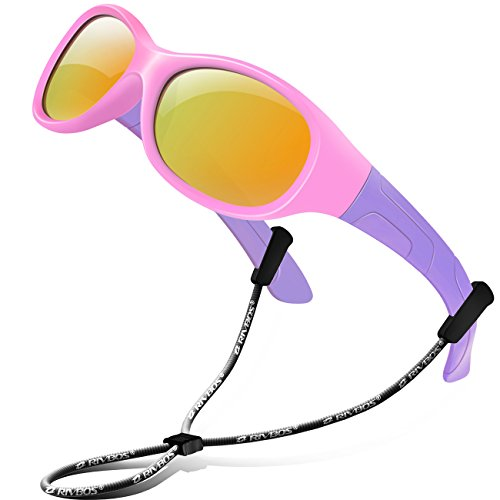 (RIVBOS Rubber Kids Polarized Sunglasses With Strap Glasses Shades for Boys Girls Baby and Children Age 3-10 RBK003 (Round Pink Coating Lens))