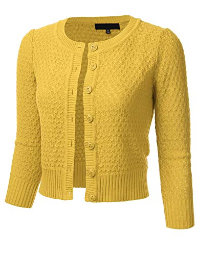 FLORIA Women's Button Down 3/4 Sleeve Crew Neck Cotton Knit Cropped Cardigan Sweater Honey L