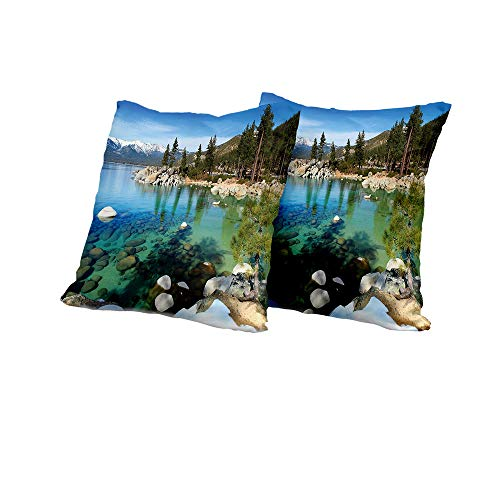 All of better Meditation Cushion Cover Lake Tahoe,Scenic American Places Mountains with Snow Rocks in The Lake California Summer,Multicolor Outdoor Pillow Covers 18x18 INCH - Mlp Seating