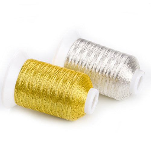 Sinbel Metallic Embroidery Thread MS Type 2 Spools Set Gold And Silver Color 500 Meters/550 Yards Per Spool. (Gold Metallic Thread)
