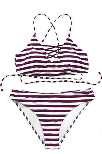 (CUPSHE Women's Stripe Printing Strappy Cross Padding Bikini Set Beach Swimwear Bathing Suit (X-Large, Purple))