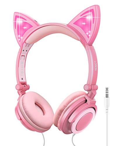 Kopfhörer Kinder Kinderkopfhörer ab 3 Jahren Faltbar einziehbar LCD beleuchteter Katzen Ohrhörer mit Kabel 85dB Lautstärkegrenze Umweltfreundliches Silikonmaterial Perfekte Geschenkoptionen für Kinder