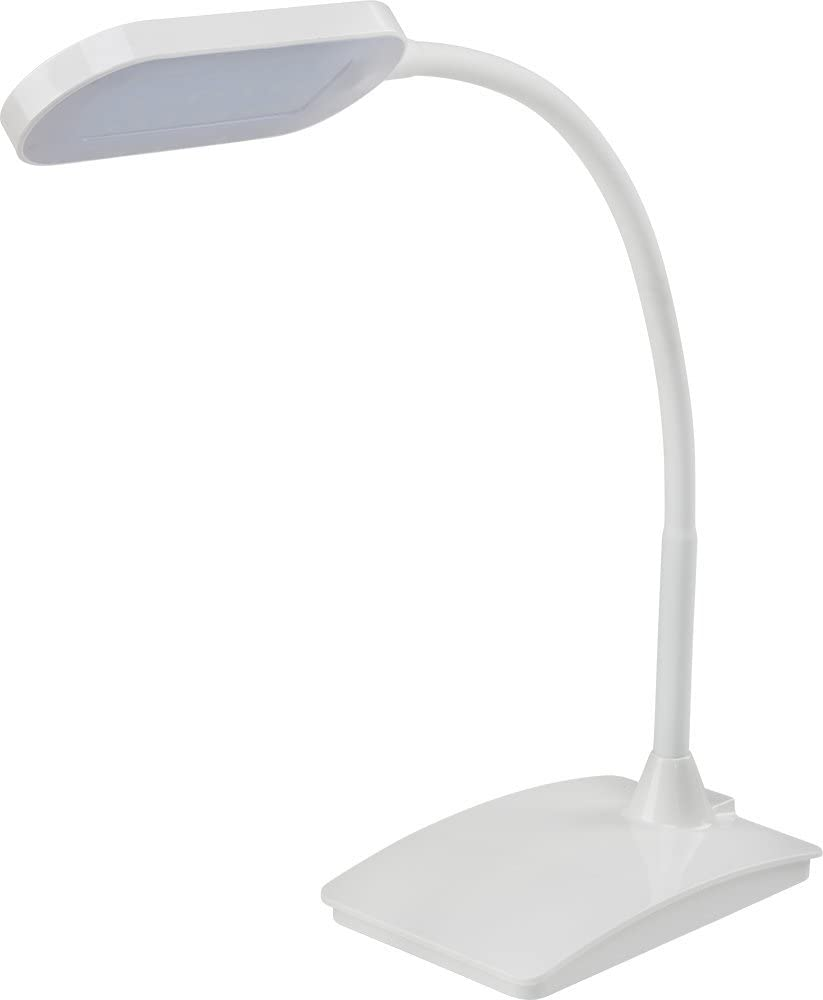 LEDQuant Dimmable Eye-Care LED Desk Lamp Flexible Neck, Touch Controller, USB cable, No Flickering, No Ghosting, White