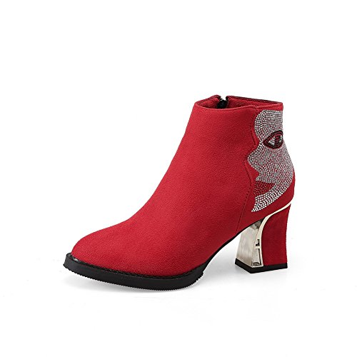AdeeSu Girls Chunky Heels Glass Diamond Winkle Pinker Frosted Boots Red 19oyJUms2