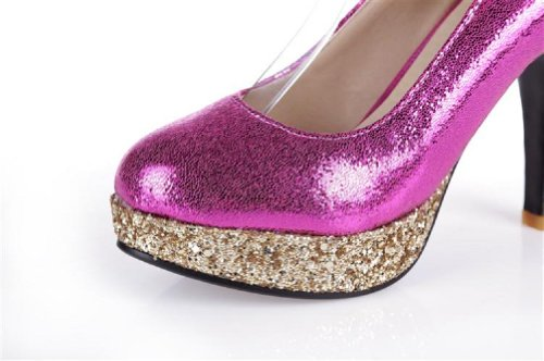 Carol Schoenen Mode Pailletten Vrouwen Platform Hoge Hak Mary Jane Pumps Schoenen Rose Rood