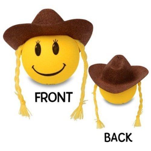 HappyBalls Quantity 2 pcs Pack Happy Smiley Cowgirl Car Antenna Topper/Antenna Ball/Mirror Dangler