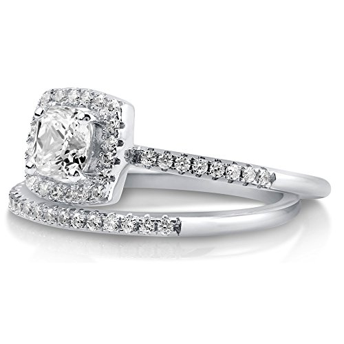 BERRICLE Rhodium Plated Sterling Silver Cubic Zirconia CZ Halo Engagement Ring Set Size 7 by BERRICLE (Image #2)