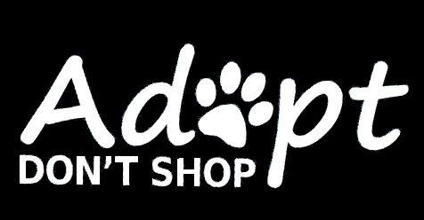 Adopt Don't Shop White Decal Vinyl Sticker|Cars Trucks Vans Walls Laptop| White |7.5 x 3 in|LLI562