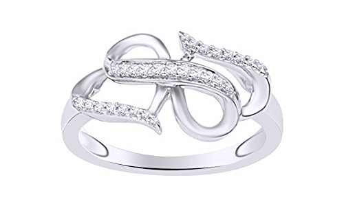 White Natural Diamond Infinity Heart Fashion Ring In 10K Solid White Gold (0.125 Ct) 0.125 Ct Heart
