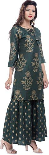 Dream Angel Fashion Women Printed Cotton Rayon Blend Kurta and Sharara Set