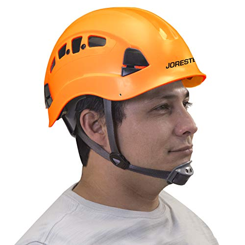 JORESTECH Hard Hat Orange ABS Work-At-Height and Rescue Slotted Ventilated Helmet with 6-Point Ratchet Suspension ANSI Z89.1-14 Certified For Work, Home, and General Headwear Protection HHAT-04