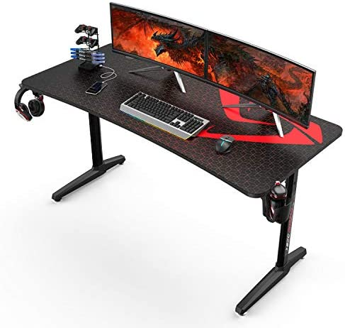 DESIGNA 60 inch Gaming Desk, Computer Desk with Mouse Pad, T-Shaped Professional Writing Table Workstation with USB Handle Rack & Cup Holder& Headphone Hook, Black