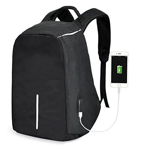 Vbiger Laptop Backpack Casual School Bag Large Capacity Shoulder Book Bag with Charging Port and Headphone Jack for Men and Women ()